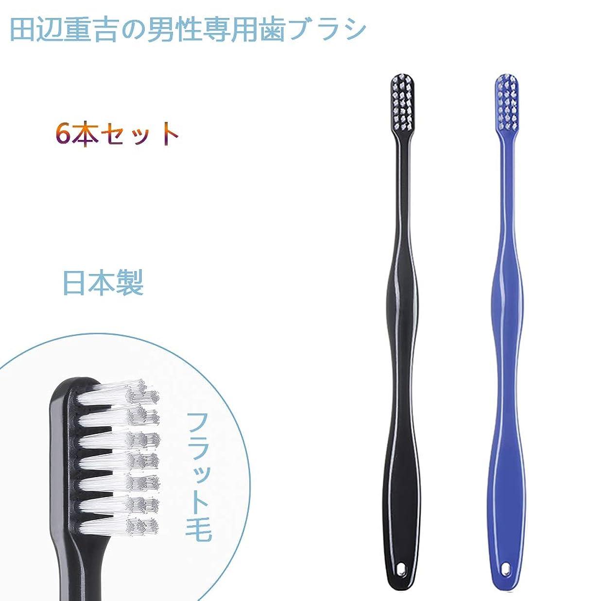 フラッシュのように素早く談話キャリッジ歯ブラシ職人 Artooth ? 田辺重吉の磨きやすい 男性専用 歯ブラシ MEN' S 日本製 耐久性UP 6本セットLT-08(色おまかせ)