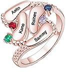 Personalizzato 3-4 piedi del bambino anello personalizzato nome e Birthstone famiglia anello unico festa della mamma compleanno idee per mamma / nonna(Oro rosa2-22)