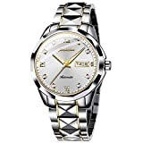 Swiss Brand Men Automatic Mechanical Watch White Face Sapphire Crystal Business Dress Tungsten Stainless Steel Waterproof Luminous Date Two Tone