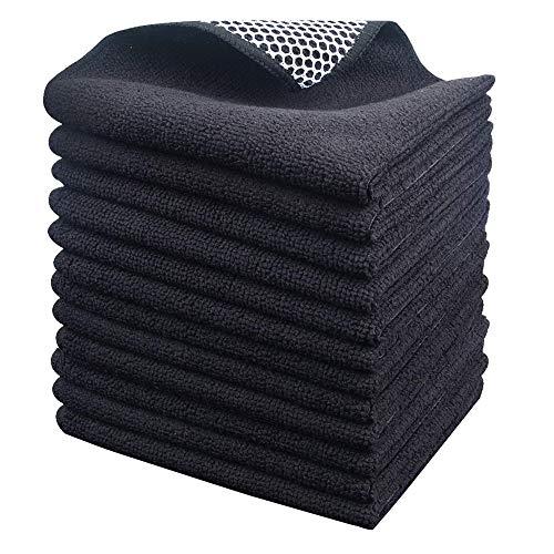 KinHwa Microfasertuch Mikrofaser Putztuch Universaltuch Reinigungstuch - extrem saugstark und weich Spültuch Geschirrtucher - für Küchen,Badflächen ,Haushalt, Büro (schwarzx12, 30cmx30cm)
