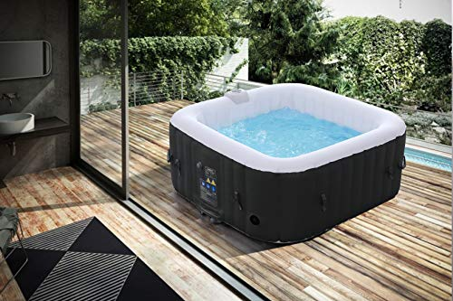 Arebos Whirlpool | aufblasbar | In- & Outdoor | 4 Personen | 130 Massagedüsen | mit Heizung | 550 Liter | Inkl. Abdeckung | Bubble Spa & Wellness Massage