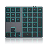 Wireless Bluetooth Backlit Numeric Keypad, Rechargeable Number Pad with 34 Keys for PC/Laptop/MacBook/iMac/Surface Pro, Win/Mac OS, Space Gray