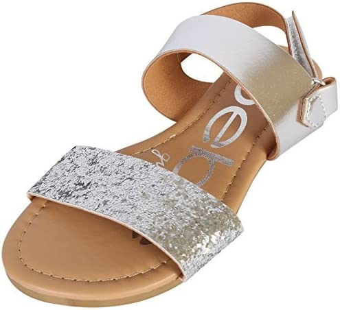 bebe Girls Sandal Two Strapped Open Toe Glitter Leatherette Sandals with Heel Strap Toddler product image
