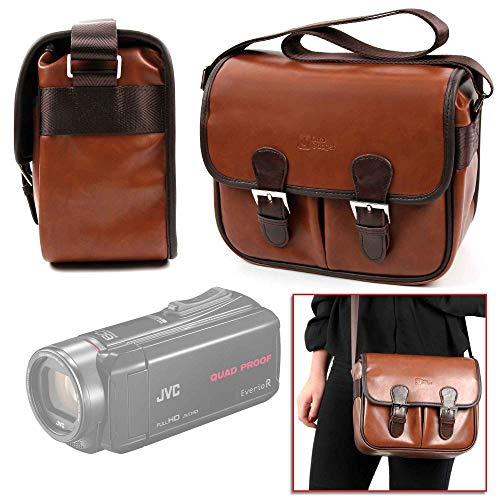DURAGADGET Bolsa Profesional marrón con Compartimentos para Cámara JVC GZ-R435BEK, Medion Life P47011
