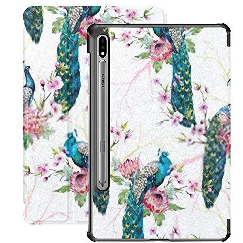 Estuche para Galaxy Tab S7 Estuche Delgado y liviano con Soporte para Tableta Samsung Galaxy Tab S7 de 11 Pulgadas Sm-t870 Sm-t875 Sm-t878 2020 Versión, Patrón de Acuarela Pavo Real en Cerezo