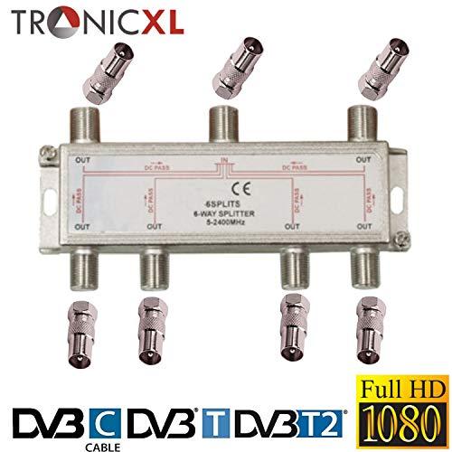 TronicXL 6fach BK Verteiler Premium TV Kabel Adapter Antennenverteiler Kabelfernsehen DVBC zb für Unitymedia Splitter Unicable 6-Fach hd tauglich 4K HDTV DC-Durchlass UKW Radio Satelliten-Anlagen