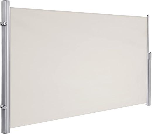 SONGMICS 160 x 300 cm (H x L) Seitenmarkise für Balkon und Terrasse, mit Bodenmontage, Sichtschutz, Sonnenschutz, Seitenrollo Beige GSA160E