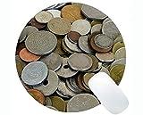 Yanteng Alfombrilla de ratón Redonda Original Personalizada, Alfombrilla de ratón Redonda de la Oficina de Efectivo de Monedas de dólar