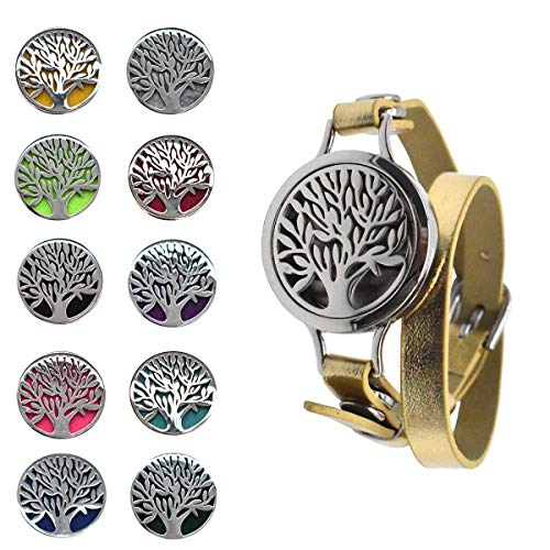 Pulsera de Aceite Esencial,Xiuyer Essential Oil Diffuser Bracelet Medallón de Aromaterapia Banda de Cuero PU con 10 Almohadillas de Fieltro para Mujer Chica Joyas Regalos(Patrón del Árbol de la Vida)