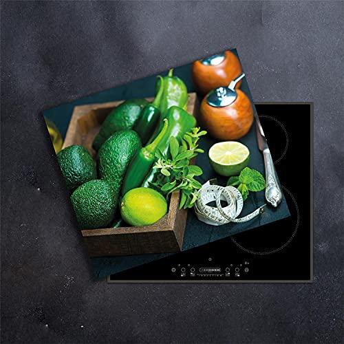 damu   para cubrir la vitrocerámica 1piezas 60x 52cm cubiertas fruta verde eléctrico Horno Cocina de inducción Placa de protección contra salpicaduras Cristal–Tabla de cortar