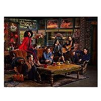 Suuyar Tvシリーズフレンズキャラクターポスターセントラルパークキャンバス絵画ウォールアートポスター装飾プリントリビングルームの装飾用画像-50X60Cm木製インナーフレーム