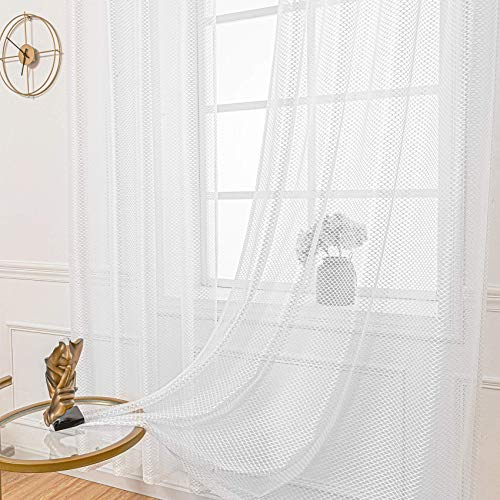ARTBECK White Sheer Lace Curtains Moroccan Diamond Trellis Semi Crochet Curtains Window Curtain for Bedroom Living Room Faux Linen Filtering Grommet Drapes Set of 2 Panels (52 x 63 Inch, White)