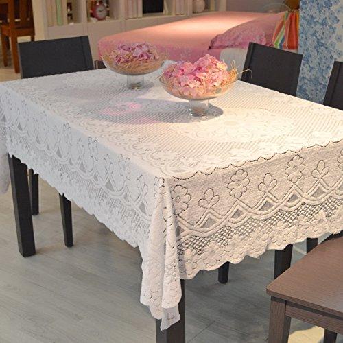 Be&xn Encaje Gasa Crochet Mantel, Hecho A Mano Rectángulo De La Cubierta De La Mesa Rectángulo Redonda Doily para La Decoración Casera De Sobremesa -Blanco 90x200cm(35x79inch)