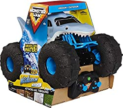 DRIVE ON WATER: Featuring a water-resistant design and custom performance tyres, Megalodon STORM attacks water with ease; Drive from water to land and keep on going—this Megalodon RC is like no other CONQUER ANY TERRAIN: This RC truck handles any ter...