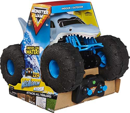 Monster Jam 6056227 - Megalodon Storm, ferngesteuertes Amphibienfahrzeug in Hai-Optik für Land und Wasser, Maßstab 1:15