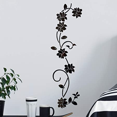 Flower Decal 3D Mirror Wall Sticker DIY Removable Art Mural Home Room Decor New