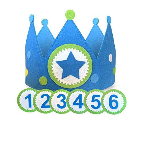 Corona cumpleaños y fiesta niño con números intercambiables en tela fieltro. Ajustable para bebés y niños | incluye números para 1 año, 2, 3, 4, 5 y 6 años más círculo de estrella para disfraz o juego