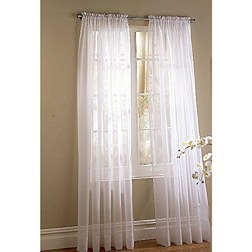 Style Selections High Twist Voile 84-in White Polyester Rod Pocket Sheer Single Curtain Panel