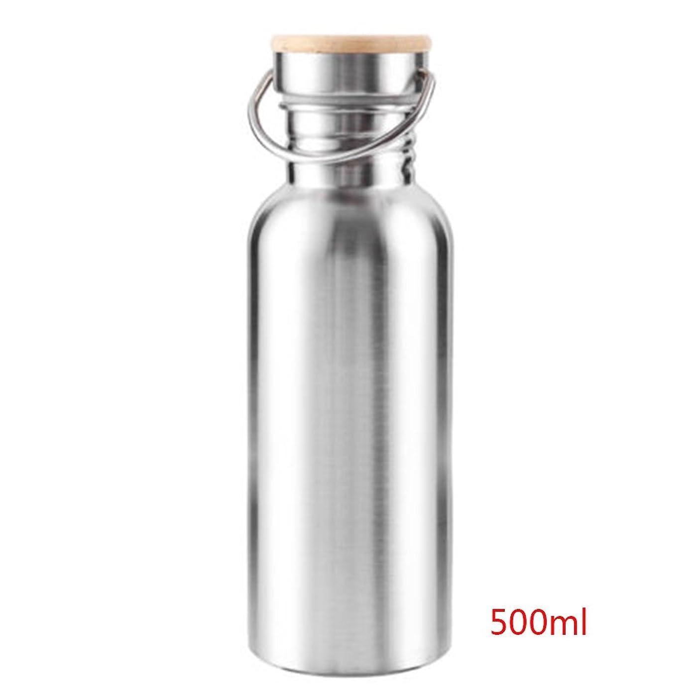 ビジョン有利民兵ステンレス鋼の水のボトル、再利用可能な広い口の水差し、自転車、キャンプ、ランナー、ハイカーやジムのスポーツのための300/500/750ミリリットルスポーツウォーターボトル(500ml銀)