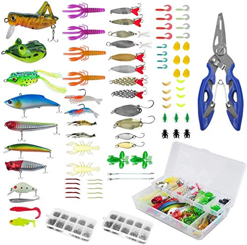 Adust 241pcs Fishing Accessories Kit, Including Frog Lures, Soft Fishing Lure, Hard Metal Lure, VIB Rattle ,Crank Popper Minnow Pencil Metal, Jig Hooks,Tainless Steel Lure Pliers