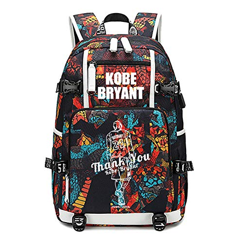 Joueur de Basket-Ball Star Kobe Bryant Sac à Dos Lumineux Voyage étudiant Sac à Dos Fans Bookbag pour Hommes Femmes (Style 2)