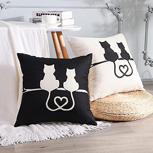 Artscope Juego de 2 fundas de cojín decorativas con diseño de gato, para sofá, coche, dormitorio, 45 x 45 cm