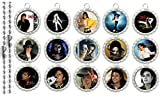 15 Special Michael Jackson SILVER Bottle Cap Pendant Necklaces Set 1
