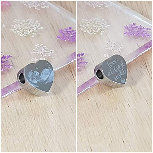 Baby Shower Gift, Baby Scan Personalised Engraved Heart Charm which Fits Pandora Bracelets and Double sided engraving
