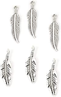 96 Pack Feather Charm Pendants, 48 of Each, Antique Silver Tone, 1 1/8 and 7/8 Inch