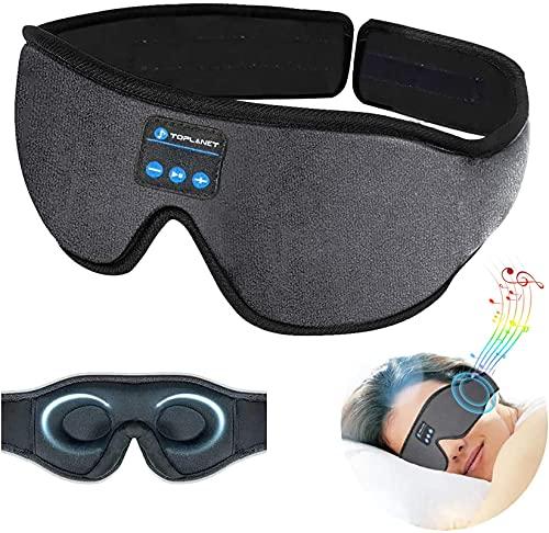 Sleep Headphones,Auto Shutoff 3D Music Eye Mask,Bluetooth 5.0 Wireless,HD Stereo Speakers,12Hrs Playtime,TOPLANET Washable Sleeping Headphones Perfect for Side Sleepers,Insomnia,Meditation,Grey