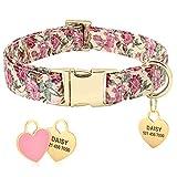 Collar de perro Beirui con diseño floral personalizado con etiqueta de identificación de corazón grabada y hebilla de liberación rápida, collares para perros pequeños, medianos y grandes(Beige,M)