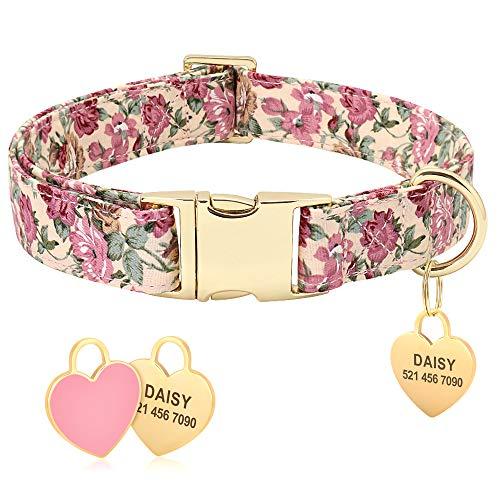 Collar de perro Beirui con diseño floral personalizado con etiqueta de identificación de corazón grabada y hebilla de liberación rápida, collares para perros pequeños, medianos y grandes(Beige,S)