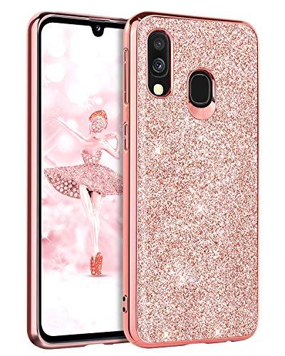 Domaver, custodia protettiva per Samsung Galaxy A40, sottile e leggera, con brillantini scintillanti, per ragazze e donne, colore: oro rosa