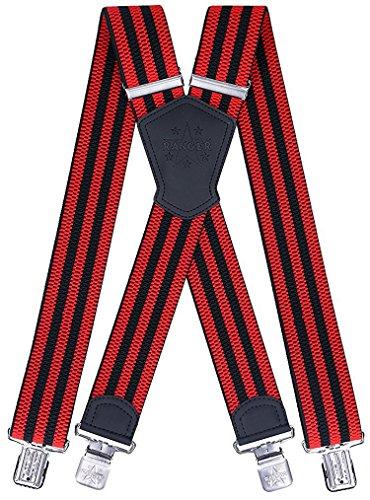 Ranger Hosenträger X Form robust Dx50 (rote/schwarze Streifen)