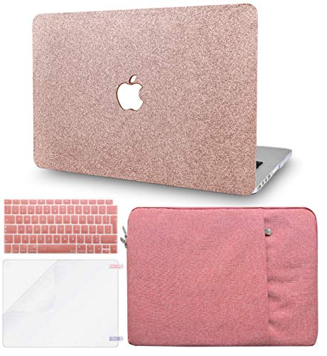 KECC Laptop Case for MacBook Air 13' Retina (2020/2019/2018, Touch ID) w/Keyboard Cover + Sleeve + Screen Protector (4 in 1 Bundle) Plastic Hard Shell Case A1932 (Rose Gold Sparkling)