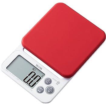 タニタ キッチンスケール はかり 料理 シリコンカバー付き デジタル 2kg 0.1g単位 レッド KJ-212 RD カバーが洗える