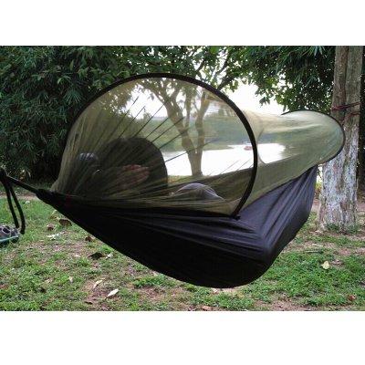 Sourgeny Piscine De Moustiquaires avec De Ver De Parachute Hamac Double Terrain De Camping Portable Swing Camping,290X145Cm Noir