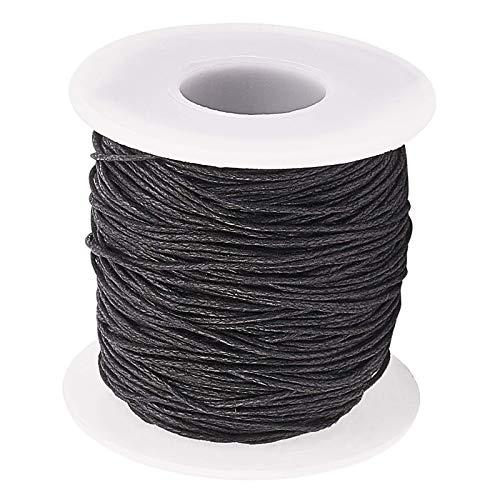 RENSHENKTO Hilo de algodón encerado para collar de pulsera negro