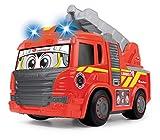 Dickie Toys 203814016-Happy Fire Truck, motorisiertes Feuerwehrauto mit Licht, Sound & Freilauf, Happy Series-Camión de bomberos Scania 25cm-motorizado-luz y sonido (Dickie 3814016), color rojo, 25 cm