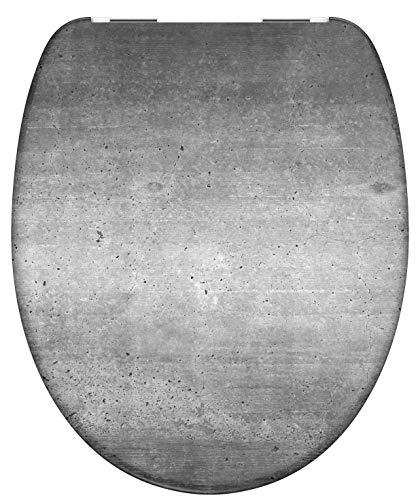 SCHÜTTE INDUSTRIAL GREY Sitz Duroplast, Toilettensitz mit Absenkautomatik, passend für alle handelsüblichen WC-Becken, maximale Belastung der Klobrille 150 kg, 82155