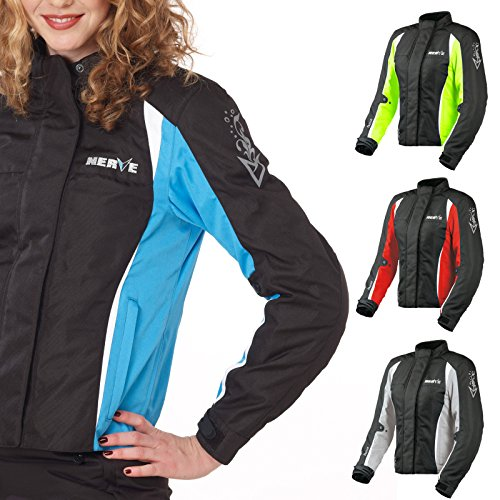 Motorradjacke -Unique-Motorrad Damen Wasserdicht Jacke mit Protektoren Sommer Winter Textil Frauen - schwarz-blau - 48
