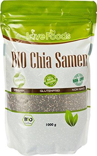 BIO Chia Samen 1000 g - Chiasamen 1kg, Von Love Foods Inklusive Rezepte-eBook
