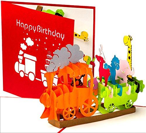 3D verjaardagskaart - stoomlok met dieren, spoorweg voor kinderen - 3D pop-up kaart, wenskaart verjaardag, wenskaart, cadeaukaart, Happy Birthday Card, verjaardagskaarten, verjaardagsbillet