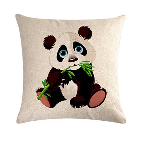 Befox Panda Tema Lino Fundas de Cojín 45 x 45 cm Funda de Almohada para sofá para Coche Decoración para el hogar