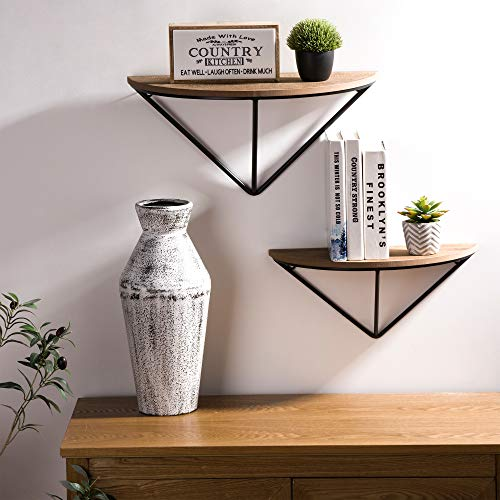Glitzhome Half-Round Floating Shelves Wall Mounted Set of 2 Rustic Wood Wall Storage Shelves Organizer Decor for Bedroom, Bathroom, Living Room, Kitchen, Office, Laundry Room