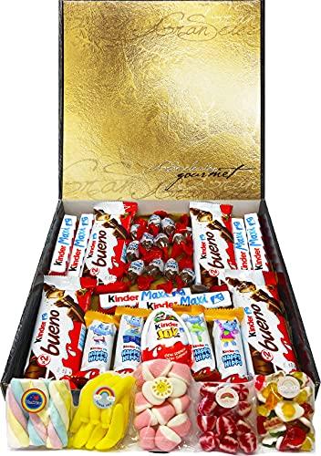 Cesta Regalo Kinder Chocolates y Chuches, Contiene Kinder Chocobons, Kinder Bueno, Kinder Maxi, Kinder Joy, Kinder Happy Hippo y 5 Bolsitas de Chuches. Regalo Original