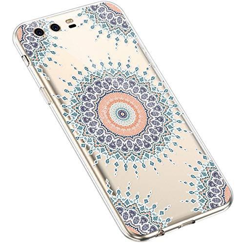 Uposao Huawei P10 Plus Coque Silicone Transparente Motif Mandala Fleur Coloré Jolie Beau Housse de téléphone Semi Hybrid Crystal Case Antichoc Coque Housse Étui pour Huawei P10 Plus,#7