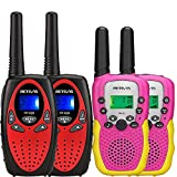 Retevis RT628 Walkie Talkies for Kids (Red,2Pack) Bundle RA18 Kids Walkie Talkies(2 Pack,Pink),for 6-12 Years Old Boys and Girls Family Games Outdoor Hiking Camping