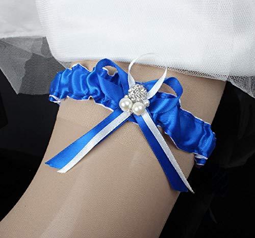 Charm4you Hochzeit Strumpfband für Braut Kristall Brautkleid Hochzeitskleid Accessoires High-End Elegante handgemachte Strumpfband Gürtel-Blue 10pcs_L,Hochzeit Braut Lace Strumpfband