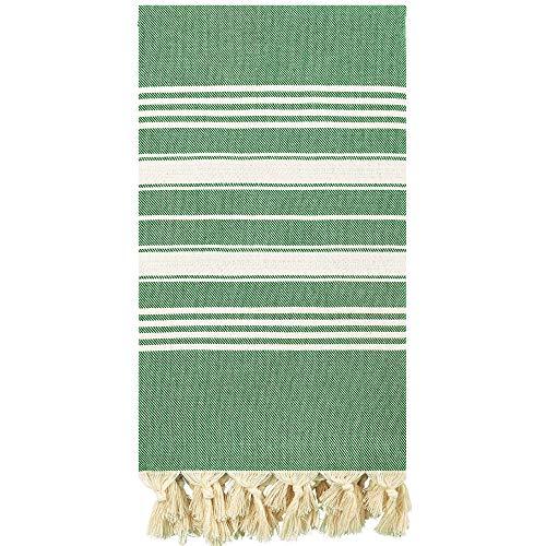 Captain&Mermaid® Premium Strandtuch aus 100% Baumwolle Oeko-TEX®   Badetuch   Handtuch   Yoga   Peshtemal   Sauna Tuch   Hamam Tuch   leicht, dünn & extra saugstark (Emerald Green) O